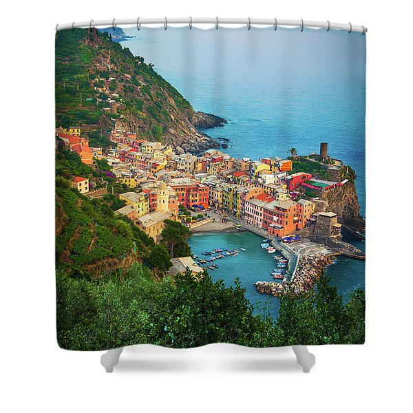Vernazza From Above Shower Curtain by Inge Johnsson