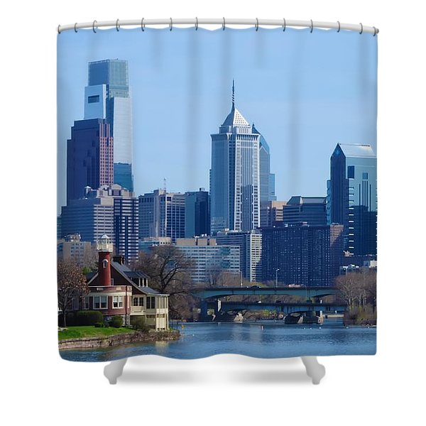 View Of Phliadelphia From West River Drive. Shower Curtain by Bill Cannon