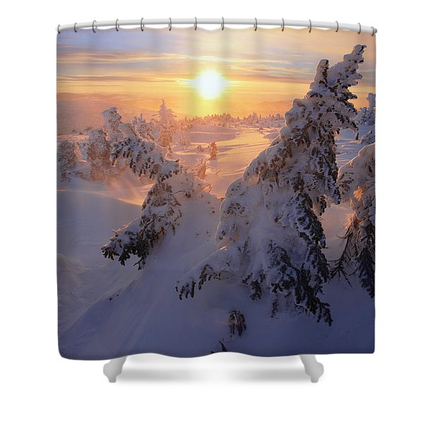 View Of Snow-covered Trees At Mont Shower Curtain by Yves Marcoux