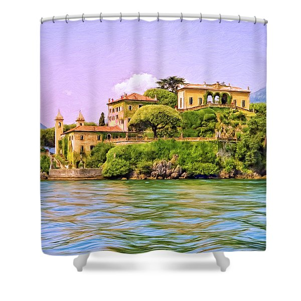 Villa on Lake Como Shower Curtain by Dominic Piperata