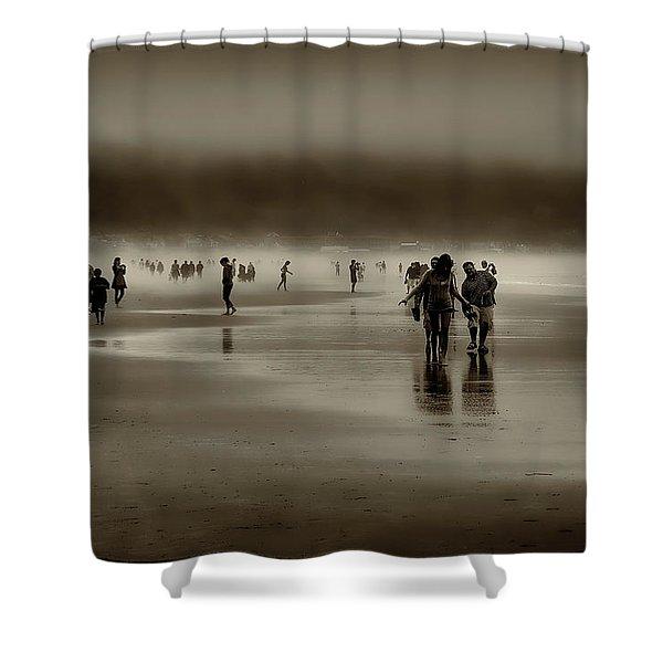 Vintage Beach Walk Shower Curtain by David Patterson