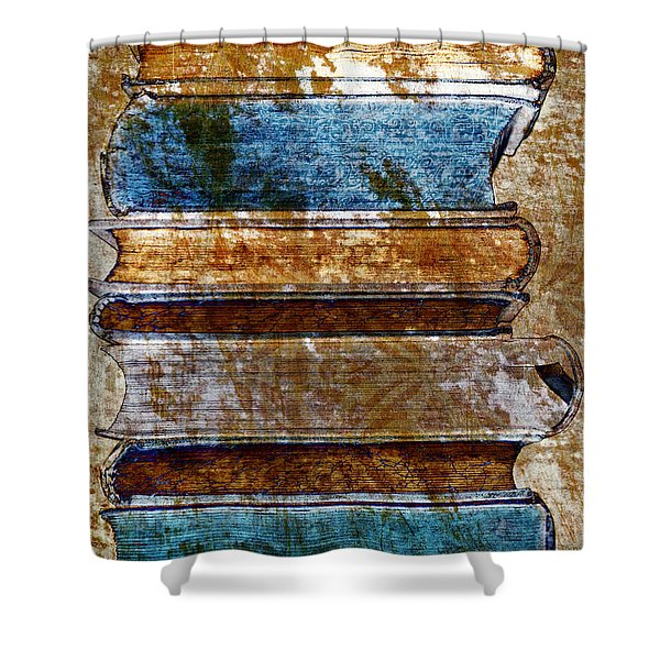- Vintage Book Stack Shower Curtain by Frank Tschakert