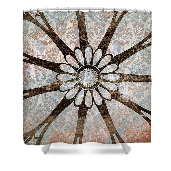 Vintage Damask Floral Abstract Shower Curtain by Frank Tschakert