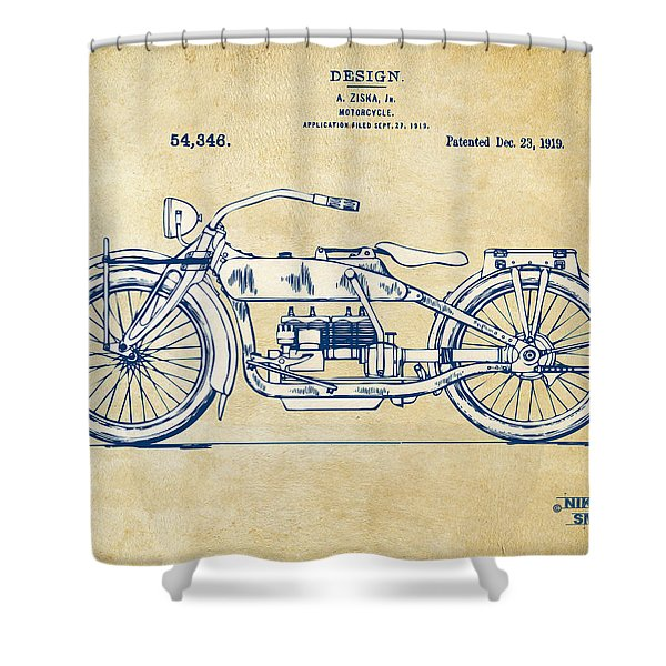 Vintage Harley-Davidson Motorcycle 1919 Patent Artwork Shower Curtain by Nikki Smith