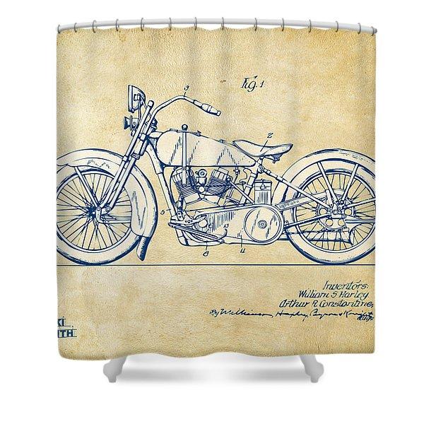 Vintage Harley-Davidson Motorcycle 1928 Patent Artwork Shower Curtain by Nikki Smith