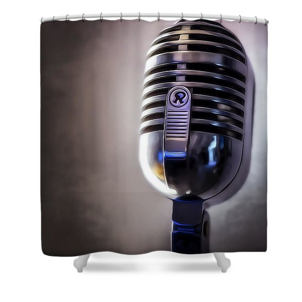Vintage Microphone 2 Painted Shower Curtain by Scott Norris