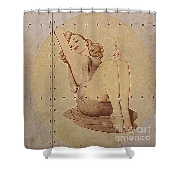Vintage Nose Art Naughty Nadine Shower Curtain by Cinema Photography