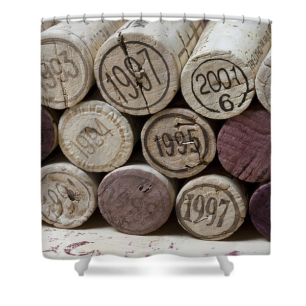 - Vintage Wine Corks Square Shower Curtain by Frank Tschakert