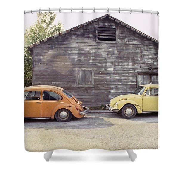 VW's in Skagway Alaska Shower Curtain by Bruce Stanfield