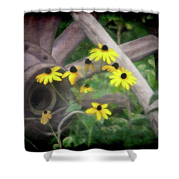 Wagon Wheel 2 Shower Curtain by Ernie Echols