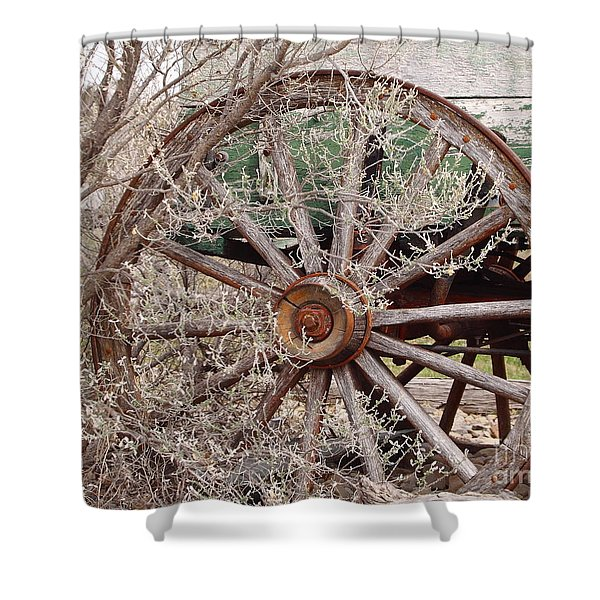 Wagon Wheel Shower Curtain by Robert Frederick