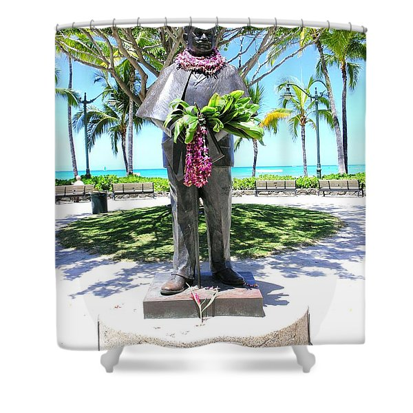 Waikiki Statue - Prince Kuhio Shower Curtain by Mary Deal