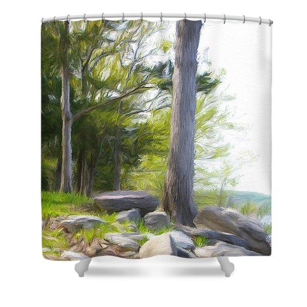 Waiting Ashore Shower Curtain by Jeff Kolker