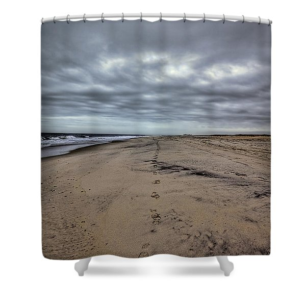 Walk the Line Shower Curtain by Evelina Kremsdorf