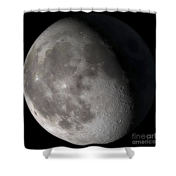 Waning Gibbous Moon Shower Curtain by Stocktrek Images