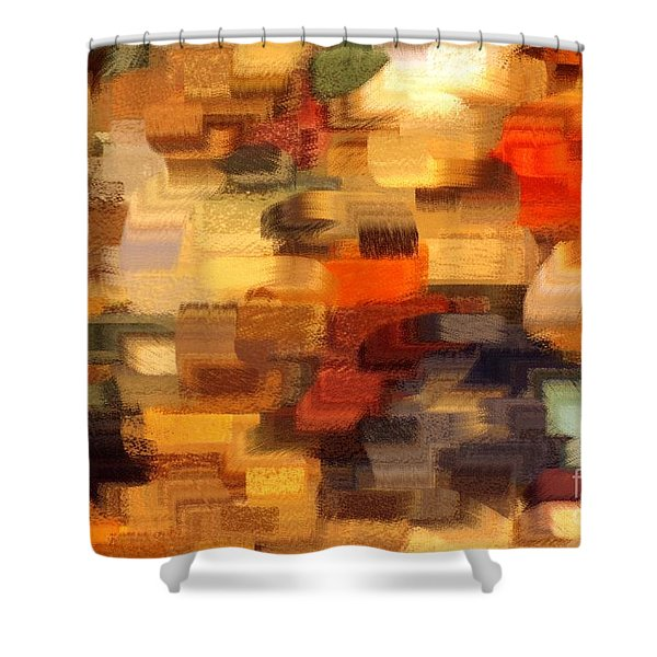 Warm Colors Abstract Shower Curtain by Carol Groenen