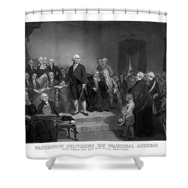 Washington Delivering His Inaugural Address Shower Curtain by War Is Hell Store