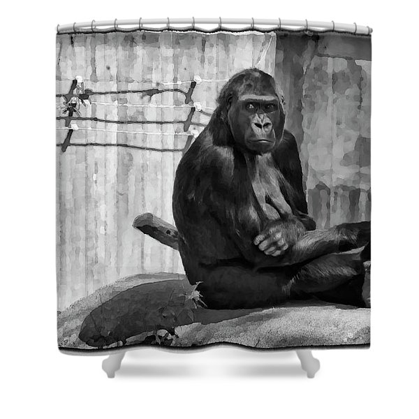 Watercolor Gorilla Shower Curtain by Joan Carroll
