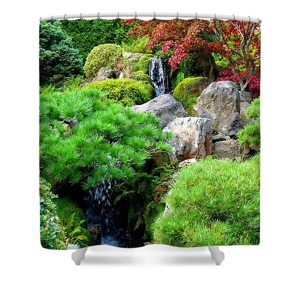 Waterfalls in Japanese Garden Shower Curtain by Carol Groenen