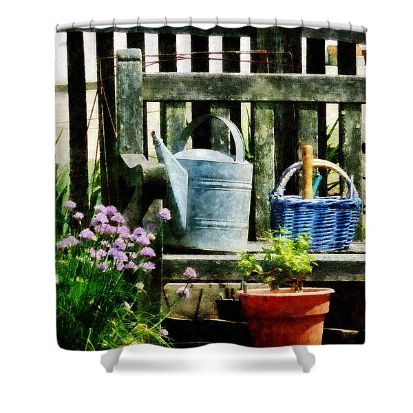 Watering Can And Blue Basket Shower Curtain by Susan Savad