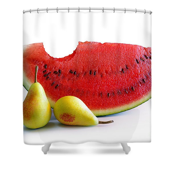 Watermelon And Pears Shower Curtain by Carlos Caetano