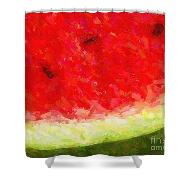 Watermelon With Three Seeds Shower Curtain by Wingsdomain Art and Photography