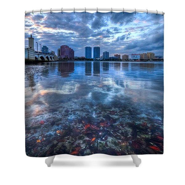 Watery Treasure Shower Curtain by Debra and Dave Vanderlaan