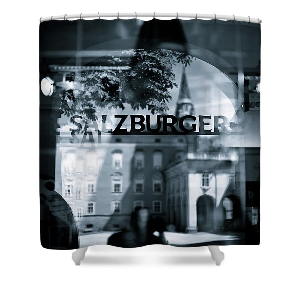 Welcome To Salzburg Shower Curtain by Dave Bowman