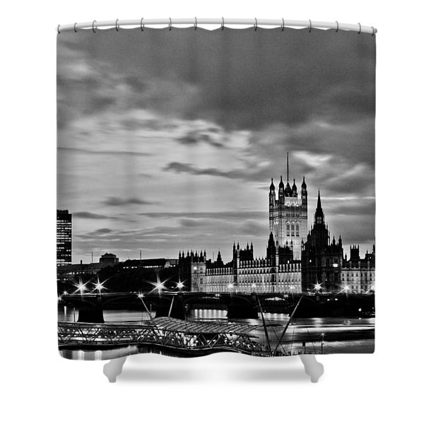 Westminster black and white Shower Curtain by Dawn OConnor
