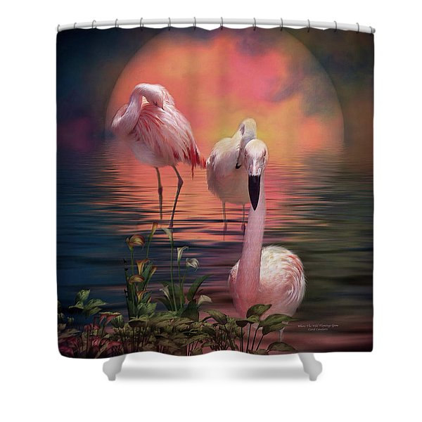 Where The Wild Flamingo Grow Shower Curtain by Carol Cavalaris