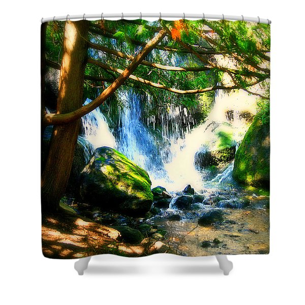 White Falls Shower Curtain by Perry Webster