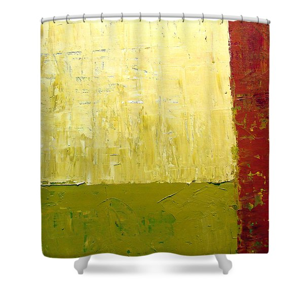 White Green And Red Shower Curtain by Michelle Calkins