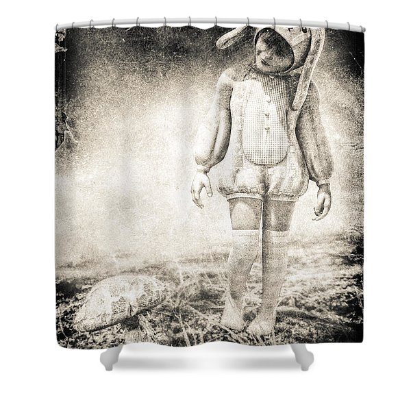 White Rabbit Shower Curtain by Bob Orsillo