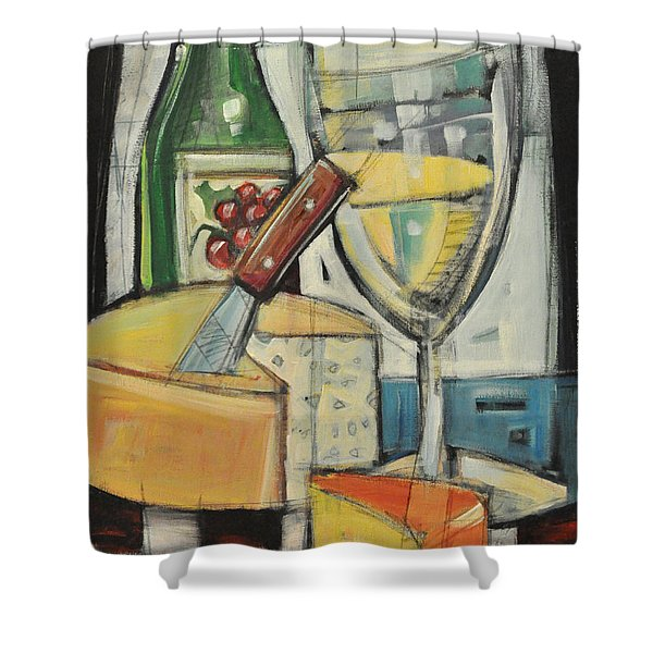 White Wine And Cheese Shower Curtain by Tim Nyberg