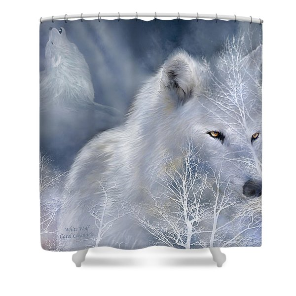 White Wolf Shower Curtain by Carol Cavalaris