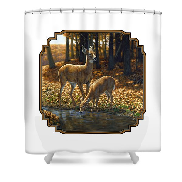 Whitetail Deer - Autumn Innocence 1 Shower Curtain by Crista Forest