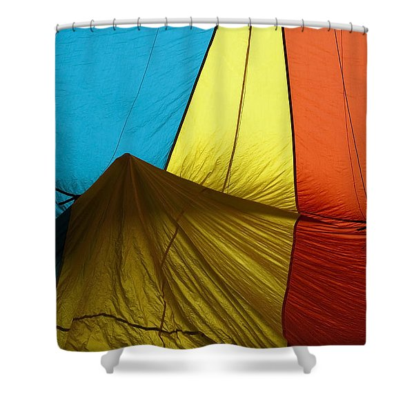 Who landed this balloon on me Shower Curtain by Mike  Dawson