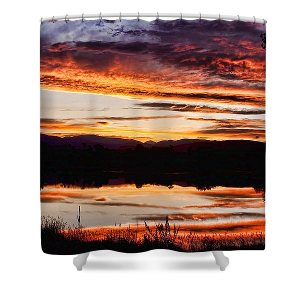 Wildfire Sunset Reflection Image 28 Shower Curtain by James BO  Insogna