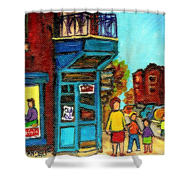 Wilensky's Counter With School Bus Montreal Street Scene Shower Curtain by Carole Spandau