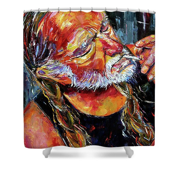 Willie Nelson Booger Red Shower Curtain by Debra Hurd