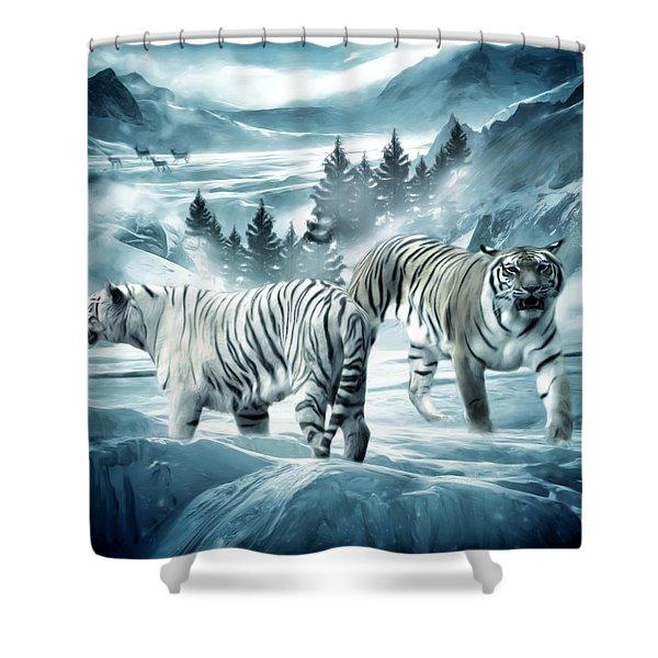Winter Deuces Shower Curtain by Lourry Legarde