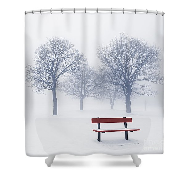 Winter trees and bench in fog Shower Curtain by Elena Elisseeva