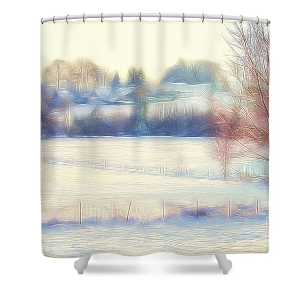 Winter Village Shower Curtain by Jutta Maria Pusl