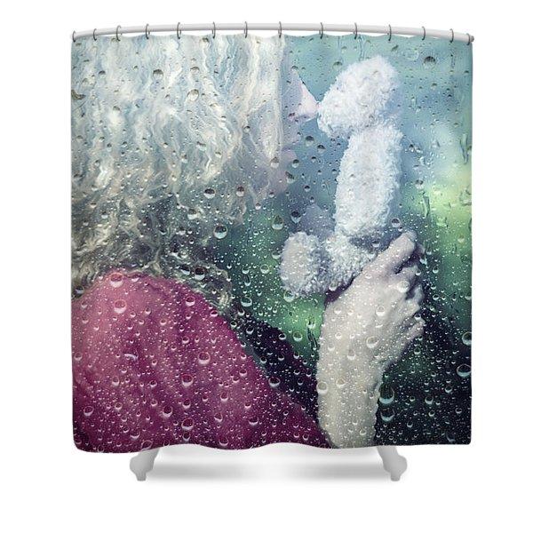 woman and teddy Shower Curtain by Joana Kruse