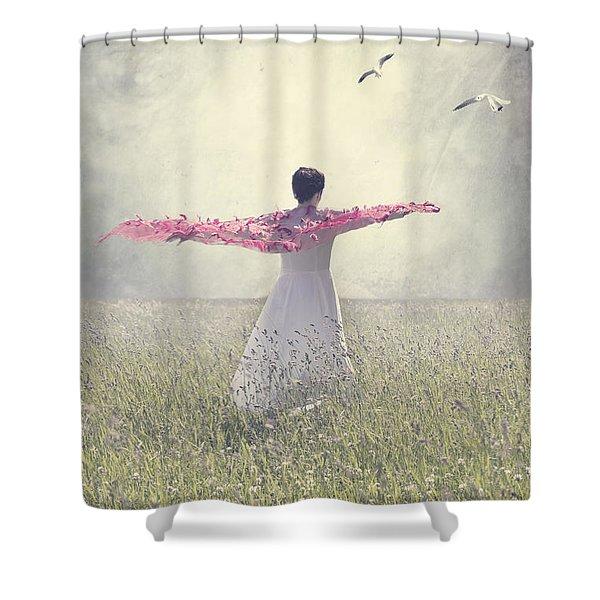 woman on a lawn Shower Curtain by Joana Kruse