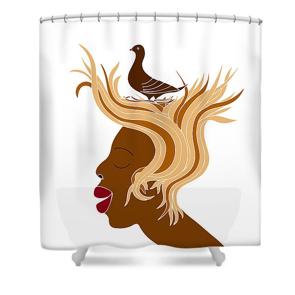 Woman with bird Shower Curtain by Frank Tschakert