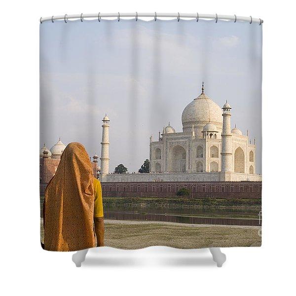Women at Taj Mahal Shower Curtain by Bill Bachmann - Printscapes