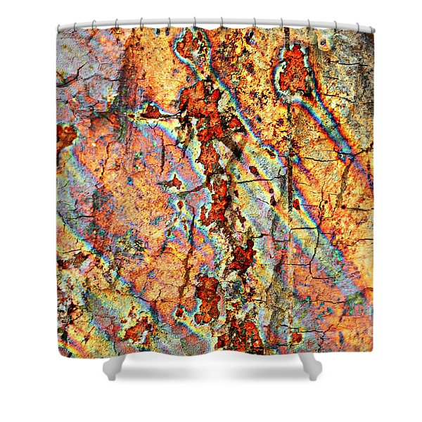 Wood and Rust Shower Curtain by Carol Groenen