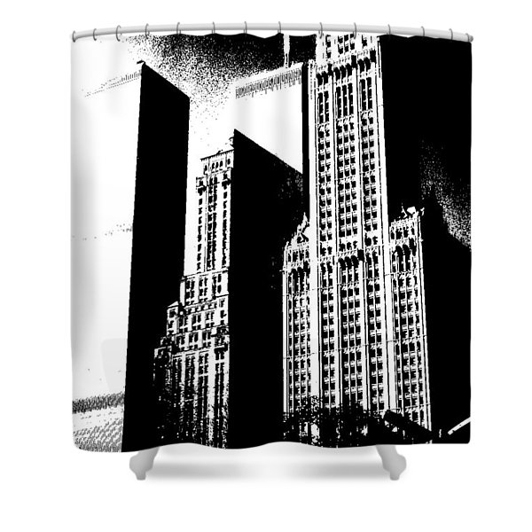 Manhattan picture mixed media shower curtains woolworth building new