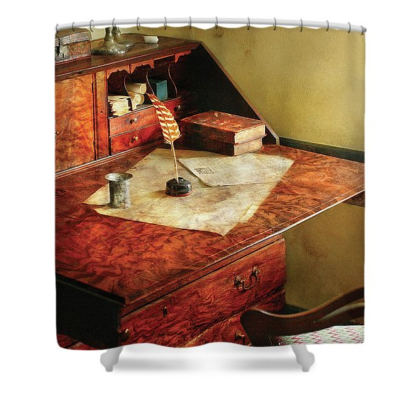 Writer - The Journeys Of An Explorer Shower Curtain by Mike Savad